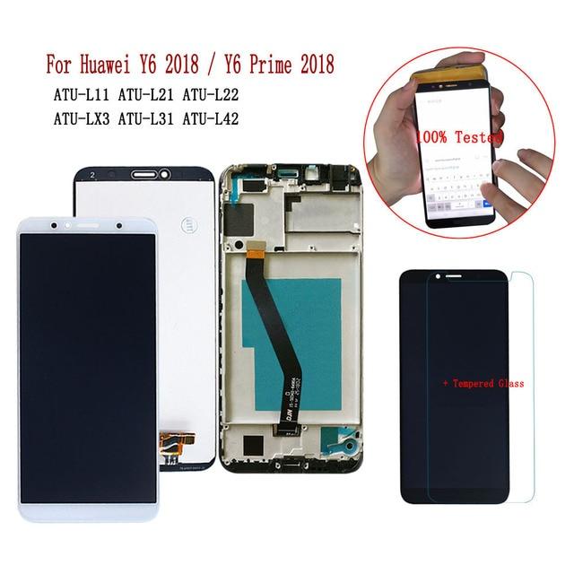 Сенсорный ЖК экран для Huawei Y6 2018, сенсорный ЖК экран с рамкой для Huawei Y6 Prime, для Huawei Y6, 2018, ATU L21, L11, L22, L42