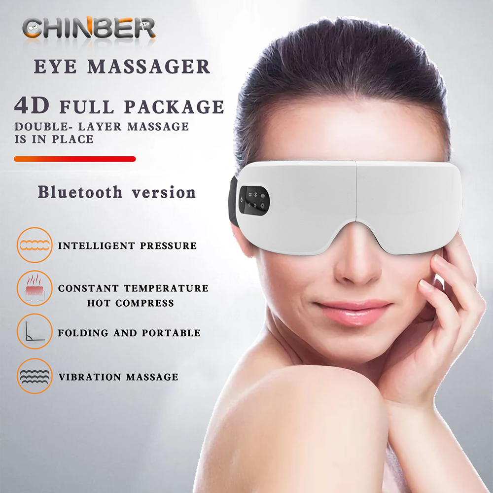 4D Smart Eye Massager Electric Bluetooth Eye Care Instrumen Heating Vibration Massage Music Relieve Eye Fatigue & Improve Sleep