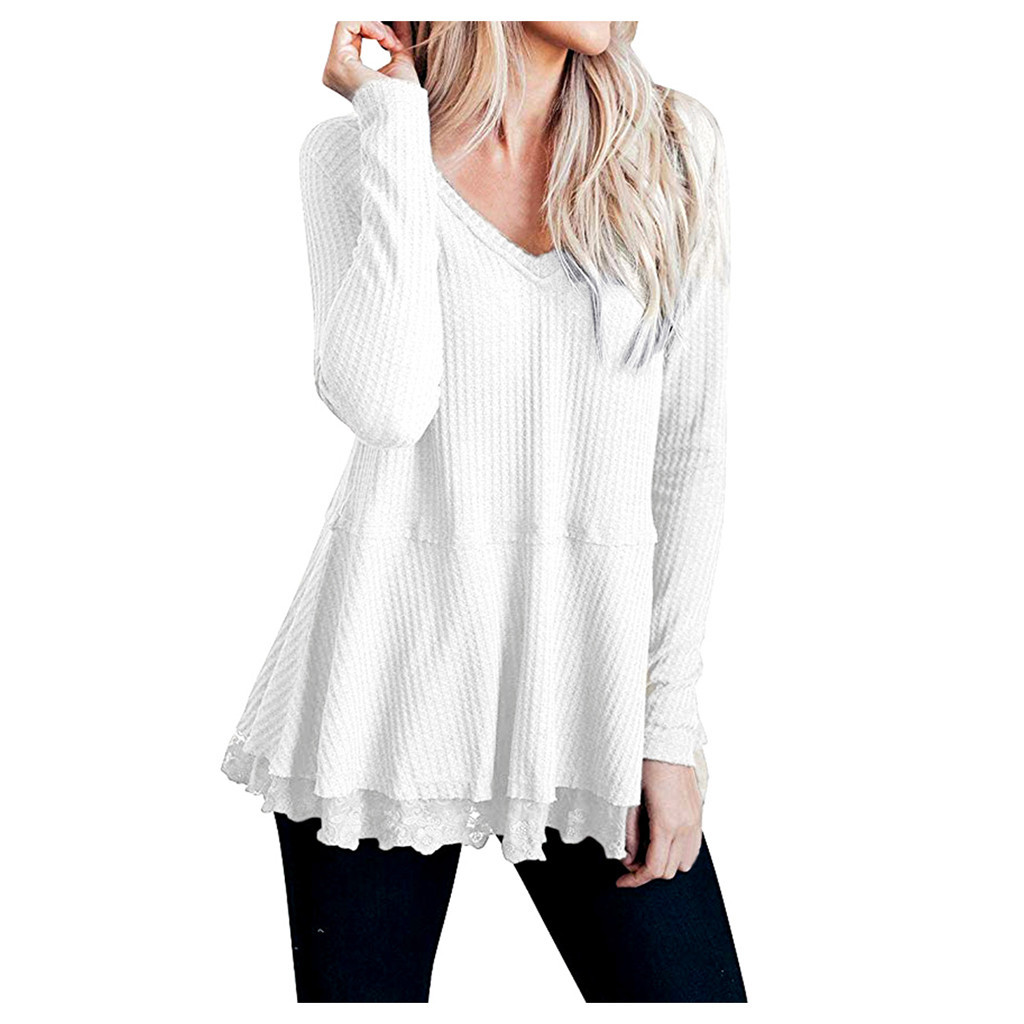 Womens Knot Waffle Tunic sweater Tops fall 2020 Casual Loose Long Sleeve Knit Lace Blouse Shirts sweters women invierno 2020