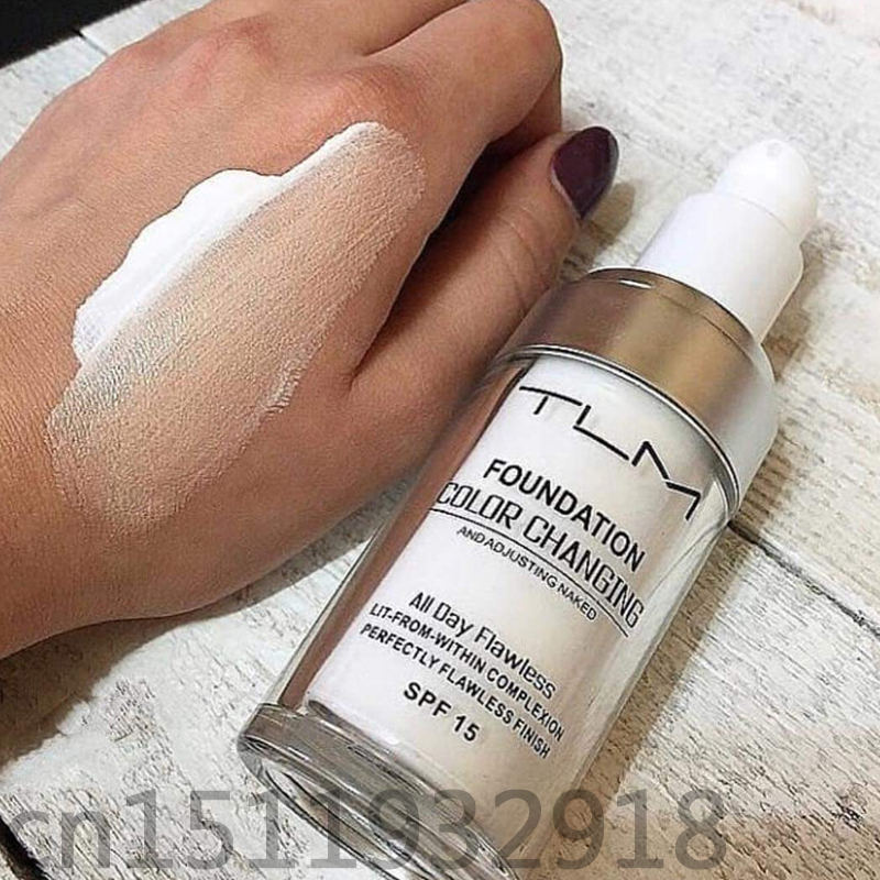 Color Changing TLM Foundation Makeup Change To Your Skin Tone By Just Blending Base Makeup Powder Base Maquillaje Coverage tlm colour changing foundation reviews