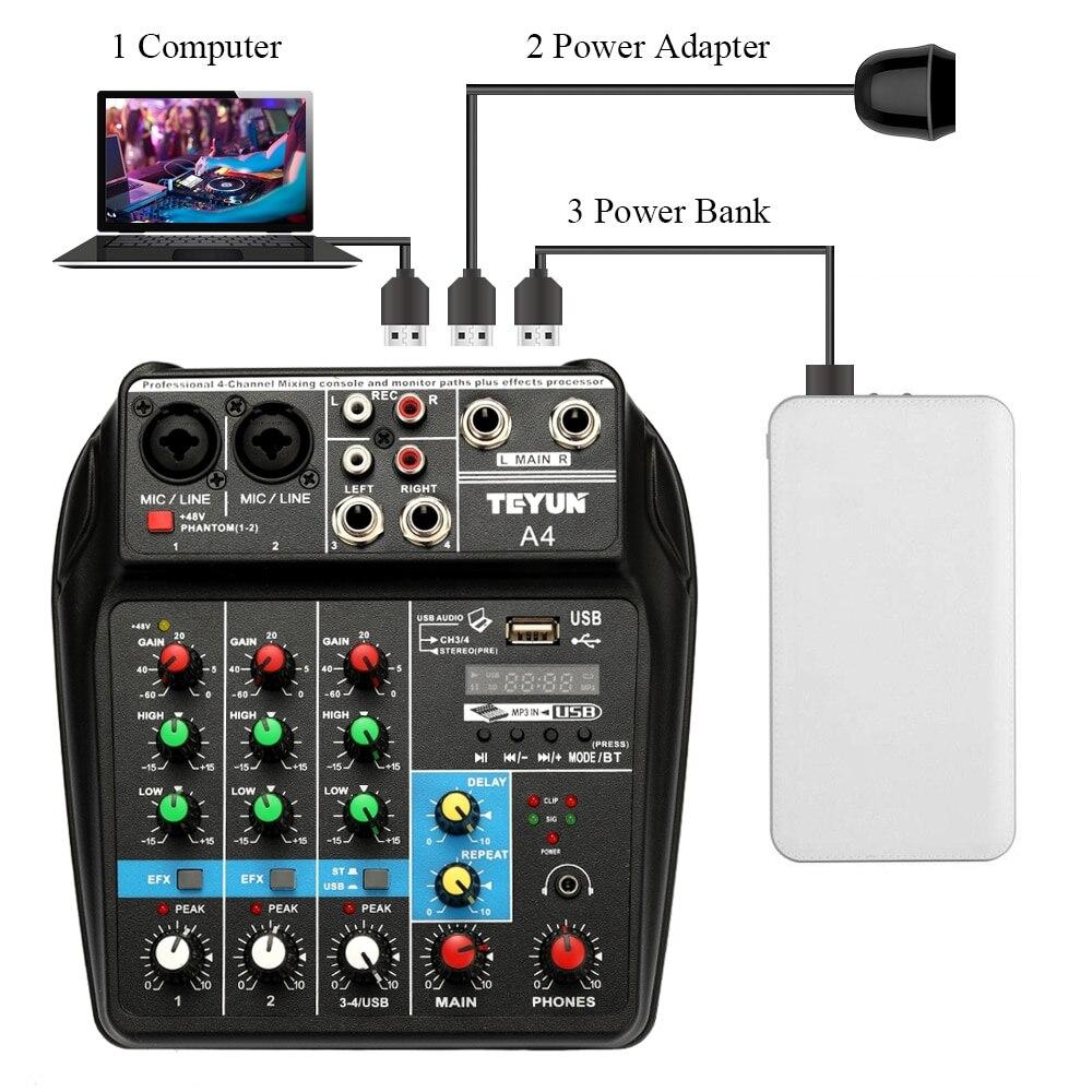 TU04 BT Sound Mixing Console USB Record Computer Playback 48V Phantom Power Delay Repaeat Effect 4 Channels USB Audio Mixer