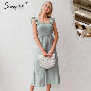 Image 5 - Simplee 우아한 프릴 주름 여성 jumpsuit 캐주얼 스트랩 여성 넓은 다리 jumpsuits 장난 꾸러기 봄 여름 숙녀 바지 2020