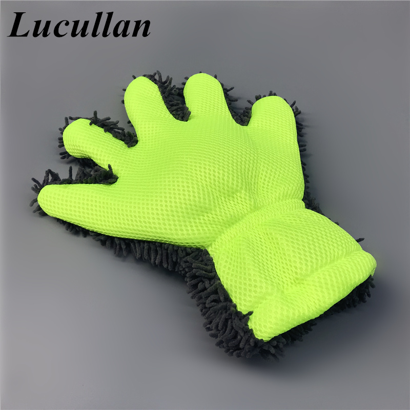 Lucullan 2 IN 1 Microfiber Chenille Car Wash Glove Auto Detailing Tools Premium Car Wash Cleaner Mitt