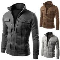 Chaqueta con capucha con cremallera para hombre, suéter informal con cuello levantado decorado con botones, chaqueta de Color sólido, nuevas prendas de vestir AW21