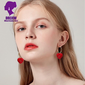 DREJEW Cute Red Love Heart Rhinestone Statement Earrings Korean Fashion Alloy Hoop Earrings for Women Wedding.jpg 350x350 - DREJEW Cute Red Love Heart Rhinestone Statement Earrings Korean Fashion Alloy Hoop Earrings for Women Wedding Christmas Jewerly