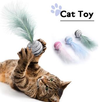 Pet Toy 5Pcs Cat Feather Foam Ball Toy Funny Interactive Toy Cat Favorite Ball Toy Improves Appetite Dog Ball Toy Pet Supplies image