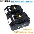 Перезаряжаемый литий-ионный аккумулятор ElPUlSE 18 в 16,0 Ач 12,0 Ач для электроинструментов Makita 18 в, батареи BL1830 BL1850 BL1820 BL1860