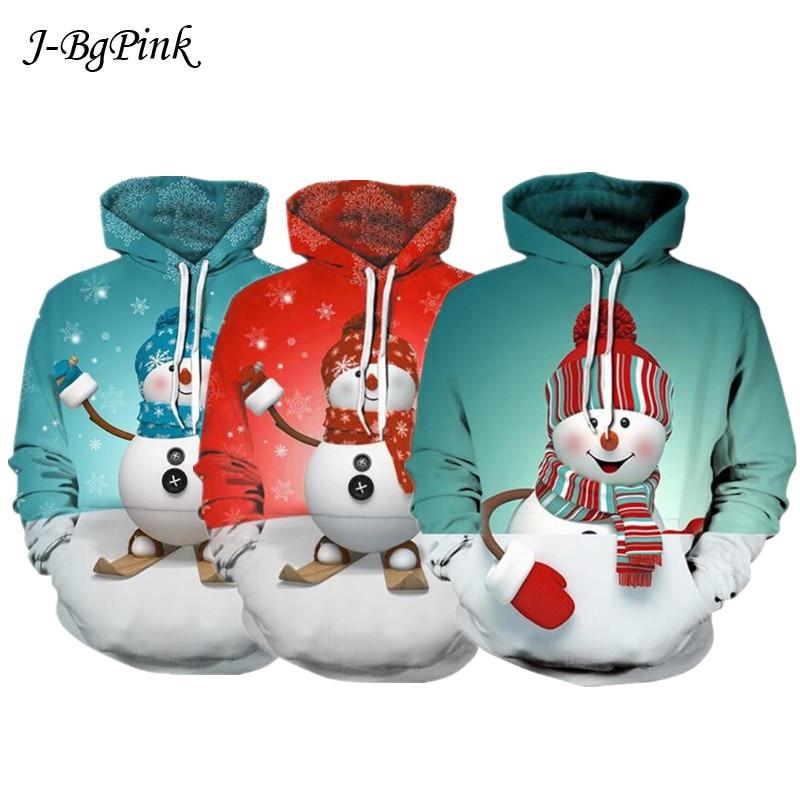 2019 Stylish Unisex Men Women Santa Claus Christmas Novelty Ugly CHRISTMAS Snowman 3D Sweater Hooded Sweater Warm Sweater