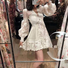 Autumn/Winter 2021 European and American women's foreign trade women's long-sleeved V-neck hollow lace dress skirt