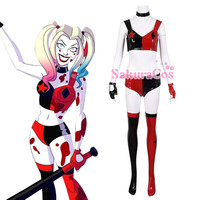 Anime A New Adventure DC Batman Harley Quinn Lovely Jumpsuits Uniform Suit Cosplay Costume Halloween Free Shipping
