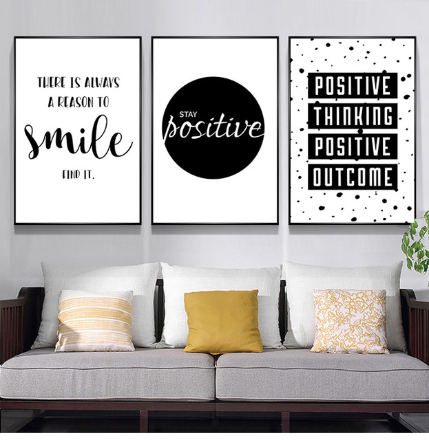 Black And White Quote Words Home Decor Wall Art Paintings English Smile Positive Letters Nordic Poster And Prints Canvas Picture Painting Calligraphy Aliexpress