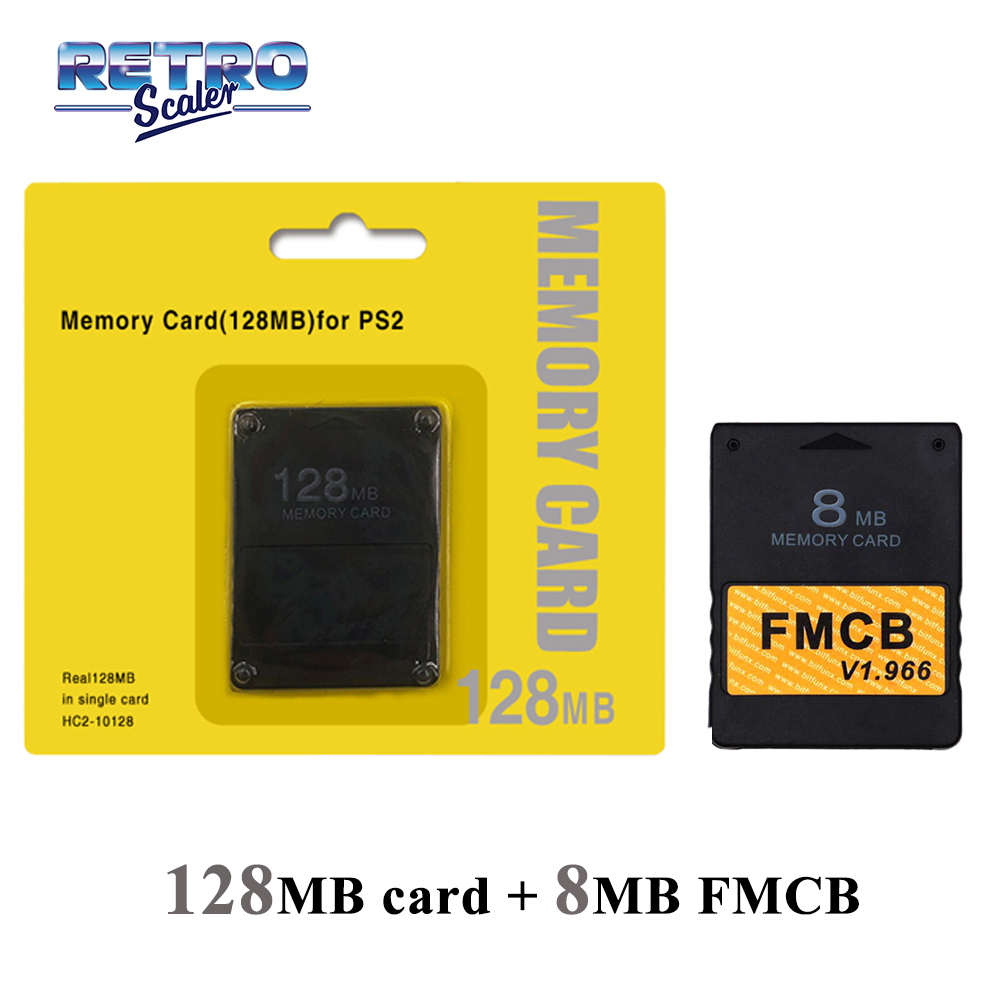 RetroScaler 128MB Save Game Function Memory Crad  for ALL PS2 +V1.966 FMCB Free McBoot Card 8MB/16MB/32MB/64MB for PS2 Console