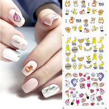 12 Designs Summer Mix Fruits Sweets Ice Cream Water Decals Nail Sticker Set Cute Animal Nail Art Decoration Watermark Slider(China)