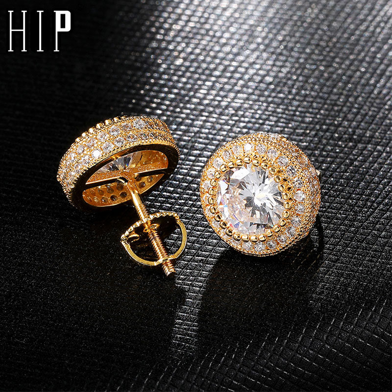 Hip HOP 1Pair Iced Out Big Zircon Micro Full Paved Rhinestone CZ Stone Round Bling Stud <font><b>Earring</b></font> Copper <font><b>Earrings</b></font> <font><b>For</b></font> <font><b>Men</b></font> Jewelry image