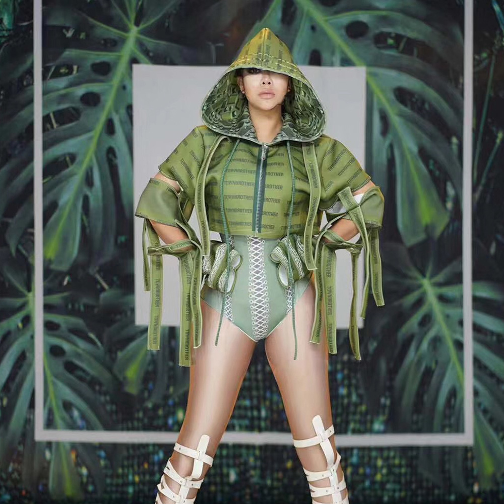 Club Party Women Cosplay Costume Army Green 3D Printed Bodysuit Tops 2-Pieces Set Bar Nightclub Female Singer Stage Costumes