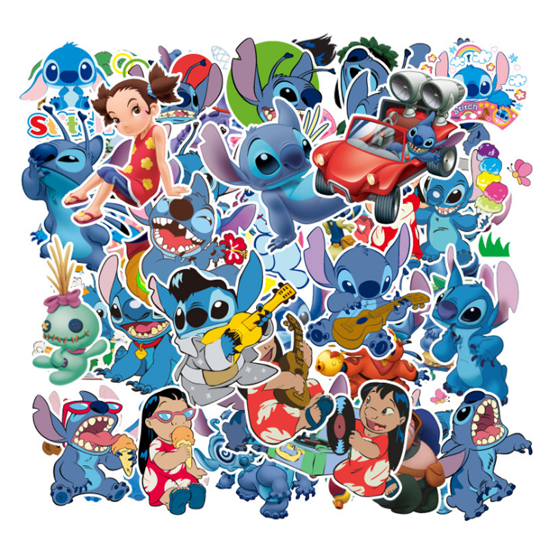 55Pcs Classics Lilo Stitch Disney Cute Cartoon Stickers For Skateboard Motorcycle Luggage Laptop Guitar Notebook Toy Sticker