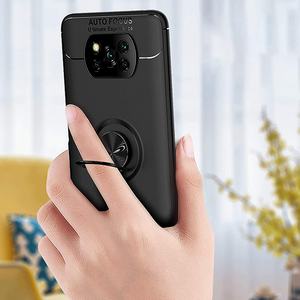 Image 4 - 3 in 1, Phone Cases + Glass for Poco X3 Magnetic Ring Silicone Screen Protector Cover Pocophone X 3 NFC Xiaomi Poco X3 NFC Case