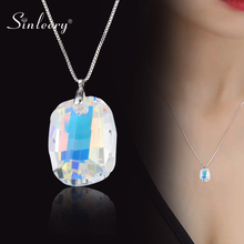 SINLEERY Gorgeous Design Big Square Crystal Necklace For Women Luxury Crystal Pendant Snake Chain Accessories Jewelry XL072 SSH