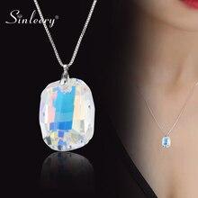 SINLEERY Wunderschöne Design Großen Platz Kristall Halskette Für Frauen Luxus Kristall Anhänger Schlange Kette Zubehör Schmuck XL072 SSH