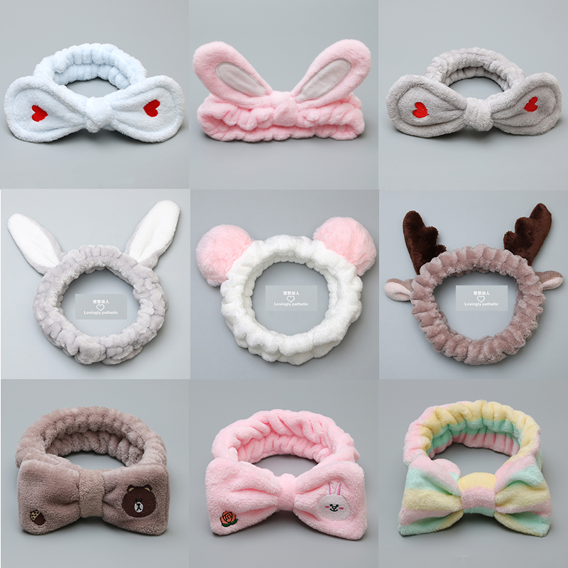 63 style coral velvet washable bow hair band women's girl small animal headwear hair band headband hair clip hair accessories(China)