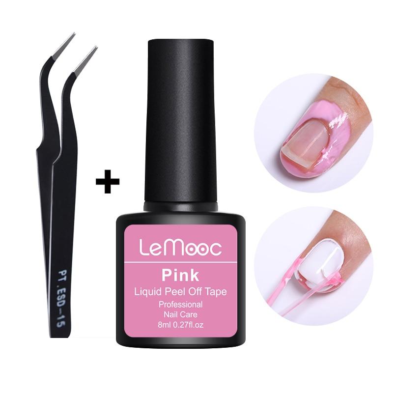 Lemooc 8ml Anti-freezing Peel Off Nail Art Latex Cuticle Guard Pink Cuticle Protector Nail Polish  Nail Art Latex