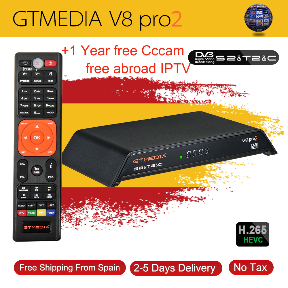 GTMedia V8 Pro2 DVB-T2/S2/Cable/S2X Satellite Receiver H.265 Built-in WIFI With 1 Year 5line Cccam Support IPTV PowerVu Biss Key