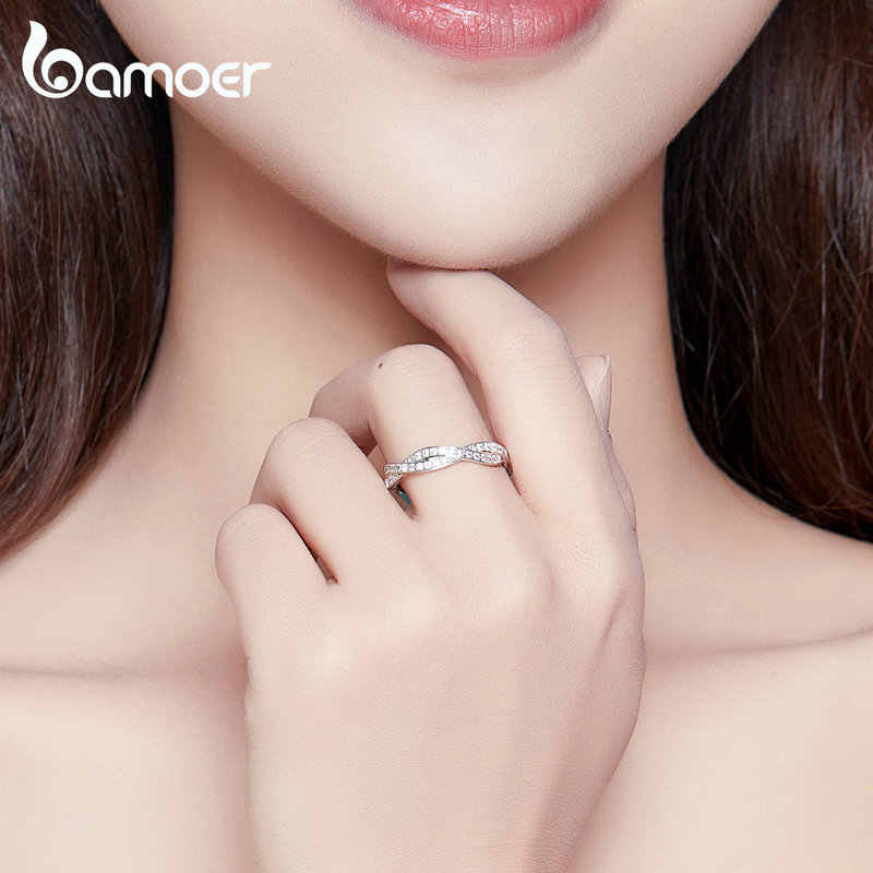 bamoer 8 STYLE BRAIDED PAVE LEAVES My Princess Queen Crown SILVER RING Twist Of Fate Stackable Ring ANNIVERSARY SALE 2019