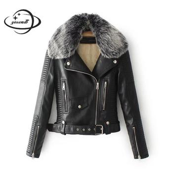 womens faux leather jacket spring autumn female coat clothing Turn-down fur collar add wool PU ladies outerwear clothes h119