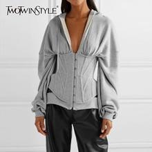 TWOTWINSTYLE 캐주얼 튜닉 불규칙한 스웨터 여성 브이 넥 긴 소매 높은 허리 슬림 여성 후드 패션 2020 의류