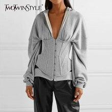 TWOTWINSTYLE Casual Tunika Unregelmäßigen Sweatshirts Weibliche V ausschnitt Langarm Hohe Taille Dünnen frauen Hoodies Mode 2020 Kleidung