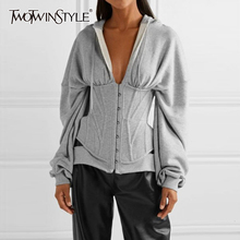 Twotwinstyle casual túnica irregular sweatshirts feminino com decote em v manga longa de cintura alta magro feminino hoodies moda 2020 roupas