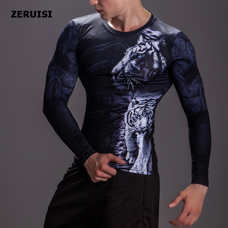 Image 2 - New Arrival 3D Printed T shirts Men Compression Shirt Costume Long Sleeve Tops For Male Fitness Hip hop Clothing-in T-Shirts from Men's Clothing