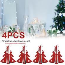 4 Uds cubertería para Navidad bolsillo cuchillo para Navidad y soporte de tenedor de almacenamiento de cubiertos de mesa de fiesta navideña cena Decoración