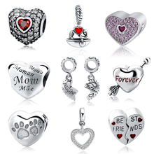 SG 2017 New 100% Authentic 925 Sterling Silver Heart Shape Charm Beads Fit Pandora Bracelet Pendants DIY Original Jewelry SG1218