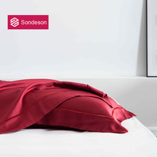 Sondeson Luxury Beauty 100% Silk Wine Red Pillowcase Embroidery 25 Momme Silky Healthy Skin Hair Pillow Case For Women Men Gift