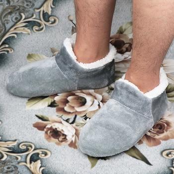 Домашние тапочки для мужчин; Большие размеры 48; Зимние тапочки для мужчин; Замшевые плюшевые тапочки; Обувь без застежки; Мягкие теплые носк...