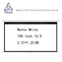 Thinyou 100 дюймов 16:9 матовый белый ручной selflocking проектор экран настенное крепление Pull Down pantalla proyeccion для кино офиса