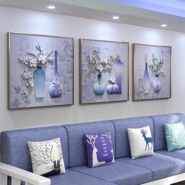 Embossed Mural Triple Framed Canvas Painting - Canvas Paintings Under $5,000