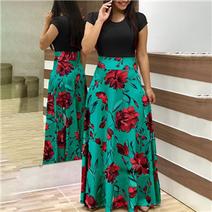 Two Pieces Dress Women Short Sleeve Robe Long Flower Floral Dress Fashion Long Women New Female Summer Beautiful A-Line Dresses 5