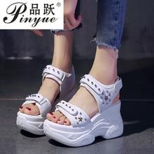 Platform Jewelry Wedge Heel Transparent Rhinestones Sandals Summer Women Diamond