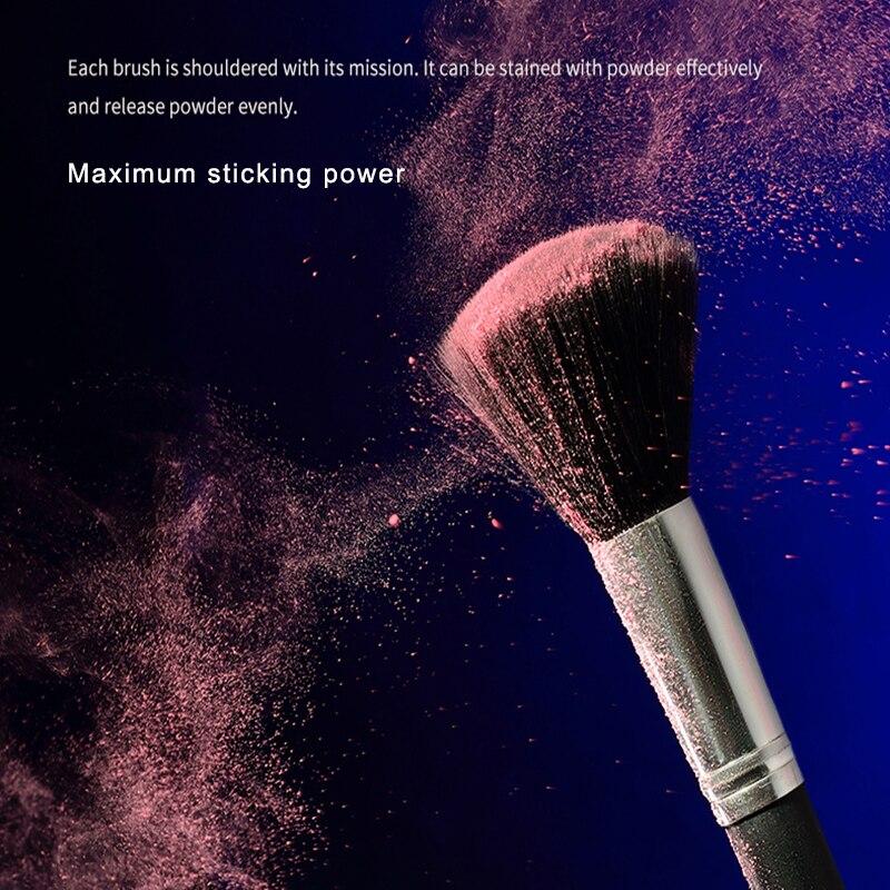 18 escovas de maquiagem de cabelo animal punho de madeira imitacao de ebano estudantes de beleza