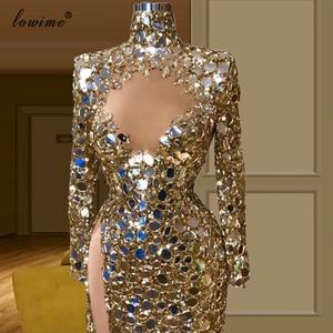 Image 2 - Dubai Muslim Shiny Gold Prom Dresses Long Mermaid Formal Evening Dresses Woman Party Night High Neck вечернее платье Gowns Robe