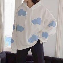 Deeptown koreańska bluza kobiety zima 2020 moda chmury swetry damskie Plus aksamitna ciepła bluzka z długim rękawem bluzy w stylu Casual