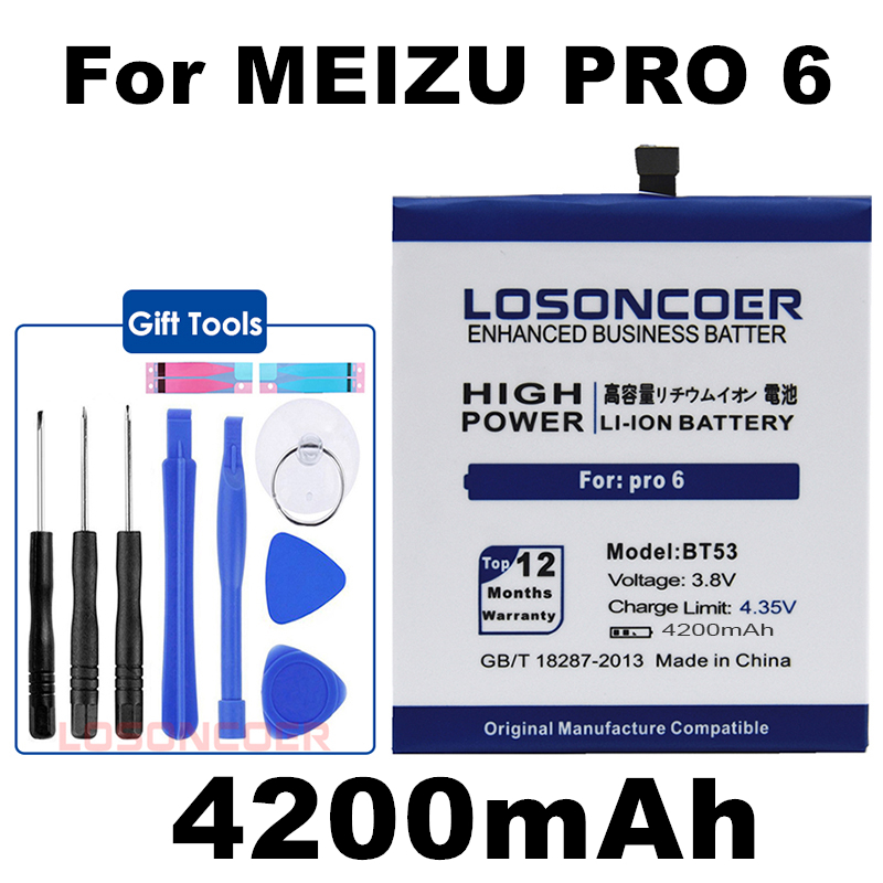 LOSONCOER Battery Mobile-Phone Pro6s BT53 Meizu For Smart 4200mah In-Stock