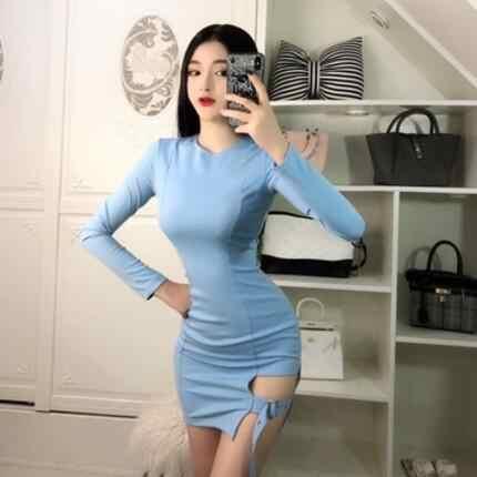 جديد Sukienki القوطية النساء مثير bodycon فساتين الماركات نادي Sukienki طويل كم أسود البسيطة قصيرة ضئيلة فستان محكم التفصيل vestidos DV47