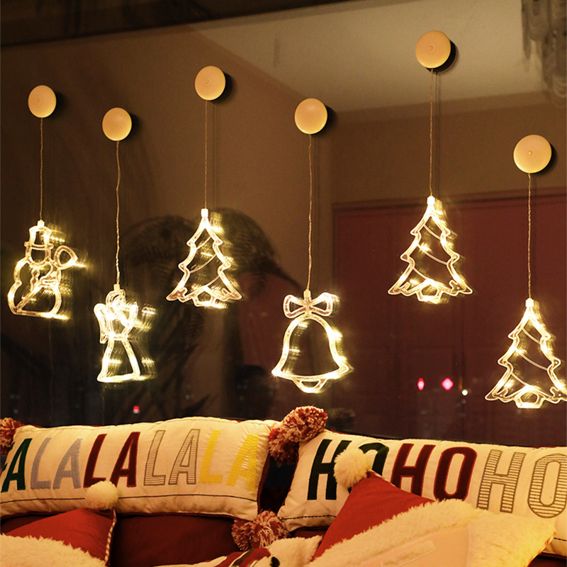 New 8 LED Elk/angel/snowman Hanging Light With Suction Cup,warm White Christmas Theme Holiday Lighting Home Party Wedding Decor