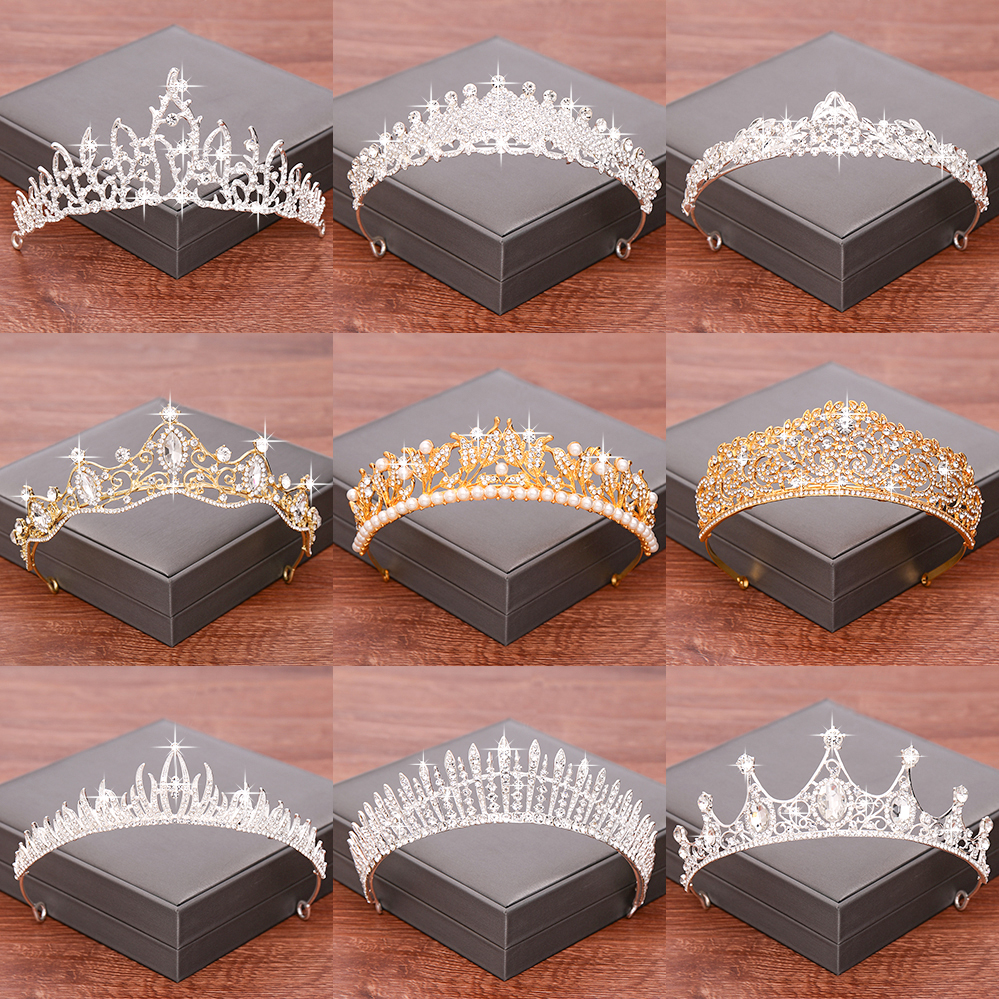 Wedding Hair Accessories Bridal Tiara Wedding Crown Gold/Silver Color Crowns and Tiaras Rhinestone Pearl Headpiece Diadem Crown