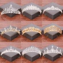 Accesorios para el cabello de Boda nupcial Tiara corona de novia oro/Color plata coronas y Tiaras de imitación de diamantes de imitación diadema de corona
