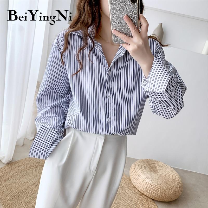 Beiyingni 2020 Spring Autumn Shirt Women Vintage Stripe Casual Loose Plus Size Blouses Blusas Female Long Sleeve Tops BF Fashion