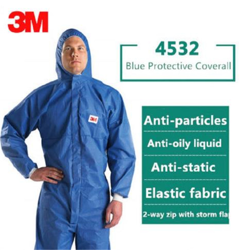 3M 4532 Waterproof Reusable Isolation Suit Dust-proof Work Safety Clothing Protective Coverall Antistatic Hooded Workwear Suit